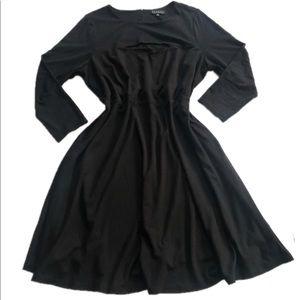 Eloquii Black Midi Cutout Skater Dress 22 cotton